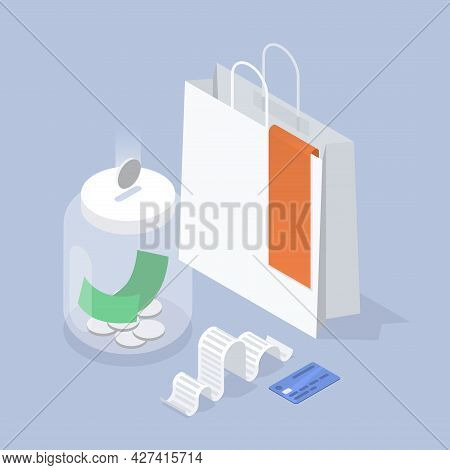 Saving Money Isometric Illustration. Falling Silver Coin To Moneybox With Cash Economy For Shopping,