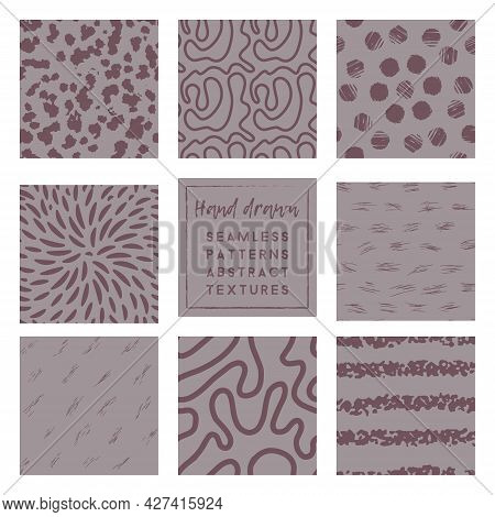 Dusty Lavender Seamless Patterns Collection With Brush Stroke Elements.