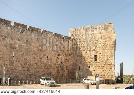 Jerusalem, Israel, July 17, 2021 : Fragment Of The Fortress Walls Near The Jaffa Gate In The Old Cit
