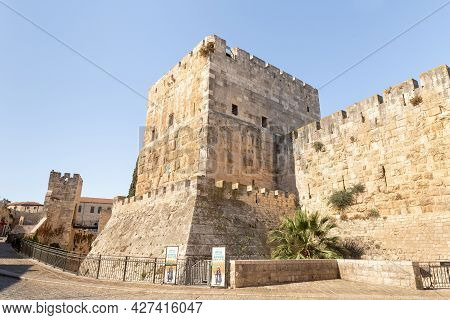 Jerusalem, Israel, July 17, 2021 : The Outer Wall Of The Tower Of David - Ancient Citadel And City H