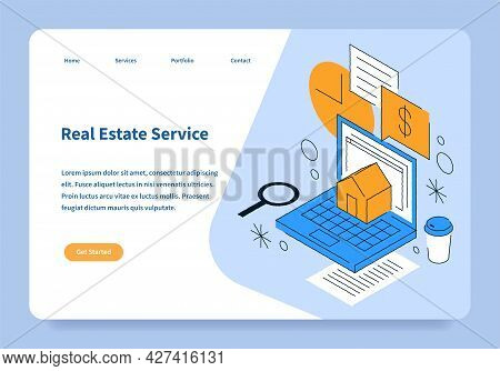 Real Estate Landing Page Concept Hand Drawing Isometric Vector Illustration. Website Template Online