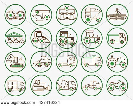 Agriculture Equipment Machinery Icon  Set. Industrial Machinery Symbols. Attachments For Tractors.