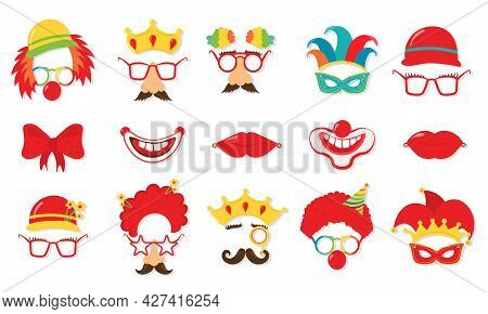 Design For Jewish Holiday Purim With Masks.