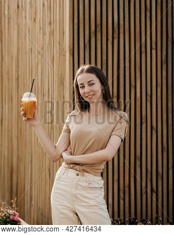 Young Smiling Girl With Tasty Sweet Cocktail, Amazing Relaxing Day, Tasty Lemonade, Outdoor Terrace.