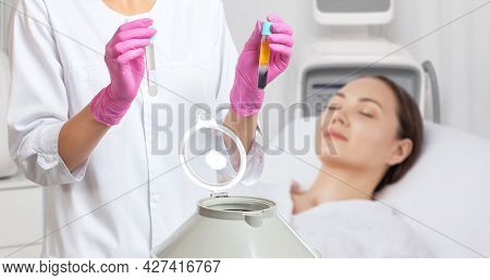 Cosmetologist Does Prp Therapy On The Face Of A Beautiful Woman In A Beauty Salon. Cosmetology Conce