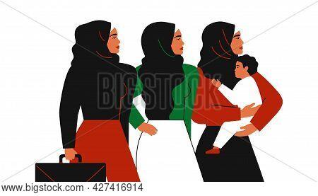 Muslim Mother With Child, Arabian Businesswomen In Hijab Stands Together. Emirati Women's Day Greeti