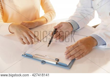 Close-up Hands Of Doctor, Therapeutic Or Medical Adviser At Work. Concept Of Healthcare, Care And Me
