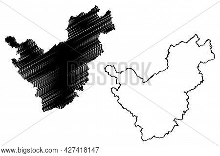 Saarlouis District (federal Republic Of Germany, State Of Saarland, Rural District) Map Vector Illus