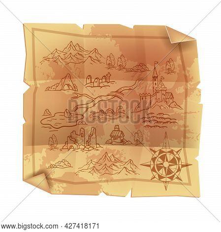Old Vintage Parchment Map, Antique Papyrus Cartography Treasure Illustration, Fantasy Game Paper. Me