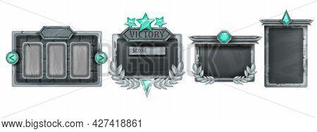 Stone Game Ui Frame Set, Rpg Rock Interface Menu Panel Kit, Green Crystal, Gray Boulder Sign Board.