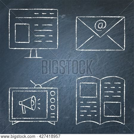 Advertising Methods Icon Set On Chalkboard In Line Style