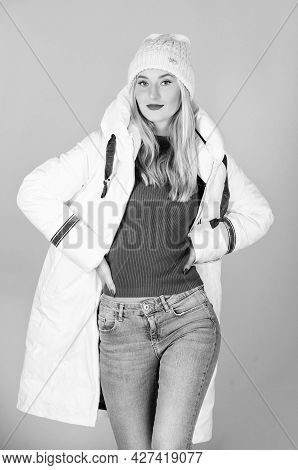 Modern Style. Fashion Outfit. Street Style. Fabulous Trendy Girl Wear Warm Jacket And Hat. Comfortab