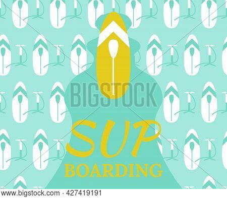Set For Stand Up Paddle- Inflatable Board, Paddle, Hand Pump. Vector Illustration, Flat Style, Backg