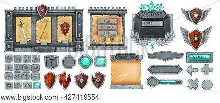 Stone Game Ui Vector Set, Rpg Rock Button, Interface Award Frame Kit, Gray Boulder Sign Board Menu.