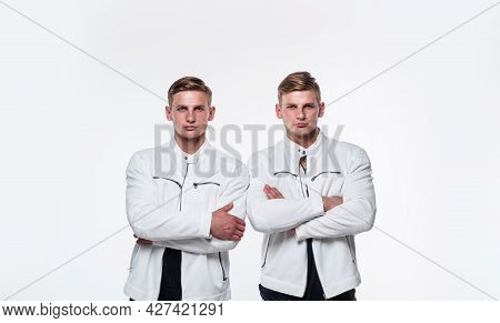 Pure Confidence. Twins Brother In White. Male Beauty And Fashion. Similar Appearance