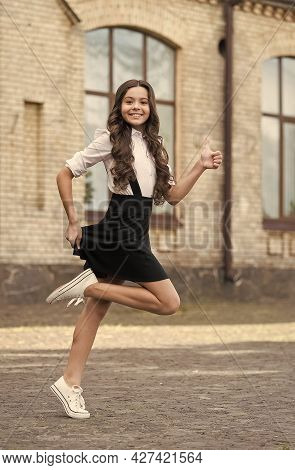 Classical Education For The Future. Happy Child Hurry To Class. Back To School. Formal Fashion. Priv