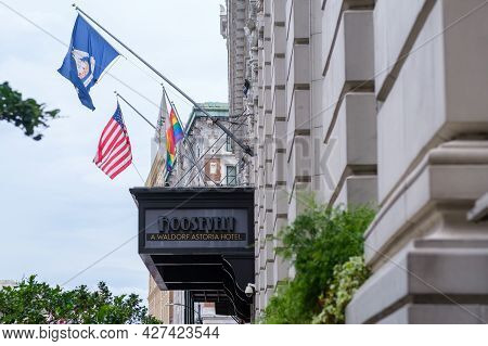 New Orleans, La - July 7: Marquee Of Roosevelt Hotel In Downtown On July 7, 2021 In New Orleans, Lou