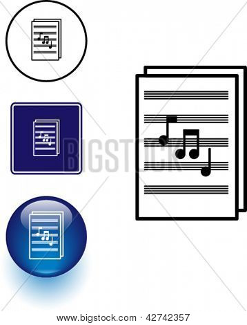 Sheet music symbol sign and button