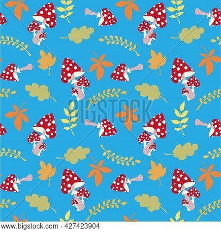 Mushroom Autumn Fallen Leaves On Blue Seamless Pattern Art Design Elements Stock Vector Illustration