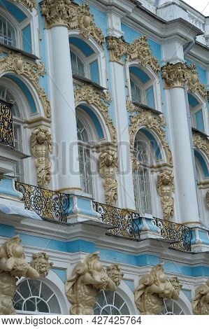 Russia, Pushkin 20-12-2018 Facade Of The Catherine Palace With Columns