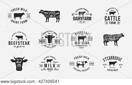Cow, Beef Vintage Logo Set. 12 Butchery Labels, Emblems With Cow Silhouettes. Logo, Poster For Dairy