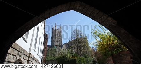 Gloucester Cathedral In Gloucester, Gloucestershire In The Uk, Taken On The 24th April 2021