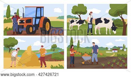 Set Agricultural Farmers Vector Flat Illustration. Collection Man And Woman Countryside Lifestyle