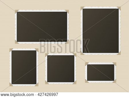 Set Of Realistic Photo Blank With Frame Attached To Album Page Vector Black Snapshot Photography