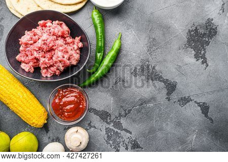 Organic Raw Minced Meat For Mexican Tacos With Vegetables  Cusine With Ingredients In Black Bowl, Ov