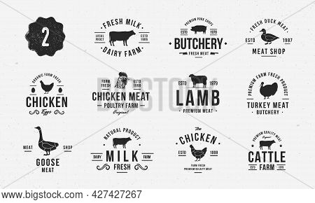 Livestock Vintage Logo Set. 11 Farm Animals Labels, Emblems With Silhouettes. Logo, Poster For Dairy
