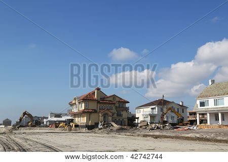 Destroyed beach houses in devastated area four months after Hurricane Sandy