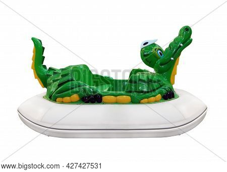 There Is An Inflatable Green Crocodile. White Background. Isolated.