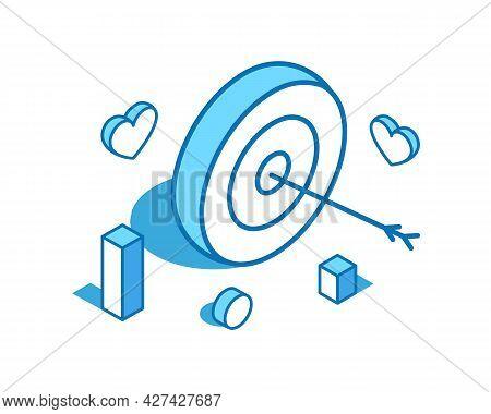 Bullseye Arrow Blue Line Isometric Illustration. Target, Goal 3d Banner Template.
