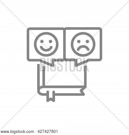 Book With Different Emotions Line Icon. Reader Feedback, Positive And Negative Emoji Symbol