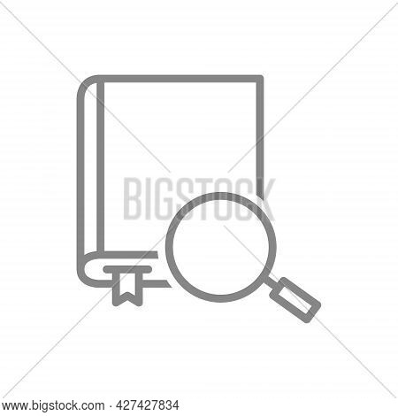 Book With Magnifying Glass Line Icon. Online Instruction, Information Search Symbol