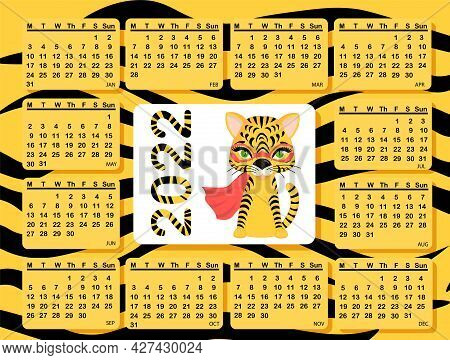 Calendar Design Template For 2022, The Year Of The Tiger According To The Chinese Calendar. Cute Tig