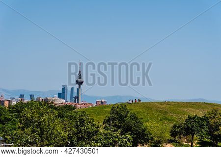 Madrid, Spain - June 12, 2021: Skyline Of Madrid From Tio Pio Park. Aerial Cityscape A Sunny Day