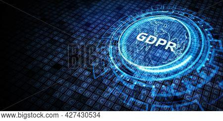 Business, Technology, Internet And Network Concept. Gdpr General Data Protection Regulation. 3d Illu