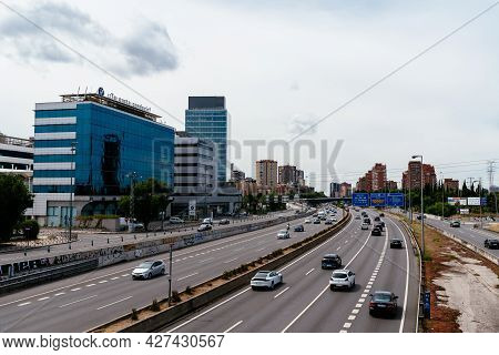 Madrid, Spain - June 19, 2021: Vehicles Speeding-up In The Entrance To The City Of Madrid From The N
