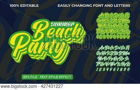 Fully Editable Text Effect. Repeated Summer Beach Party Vibes.