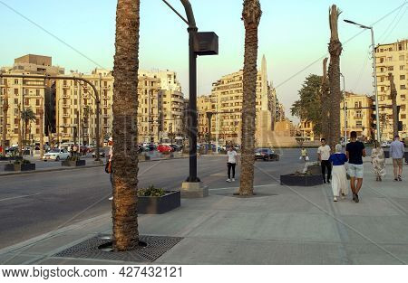 Cairo- Egypt: October 4, 2020: Sunset View Of Tahrir Square In Cairo With Light Traffic And People.