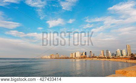 Tel Aviv, Israel. View Of The Tel Aviv Promenade With Skyscrapers