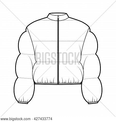 Down Puffer Jacket Coat Technical Fashion Illustration With Long Sleeves, Stand Collar, Zip-up Closu