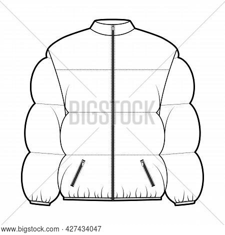 Down Puffer Coat Jacket Technical Fashion Illustration With Stand Collar, Zip-up Closure, Pockets, B