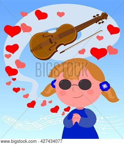 Blind Girl With Violin And Melody, Cartoon Vector Illustration