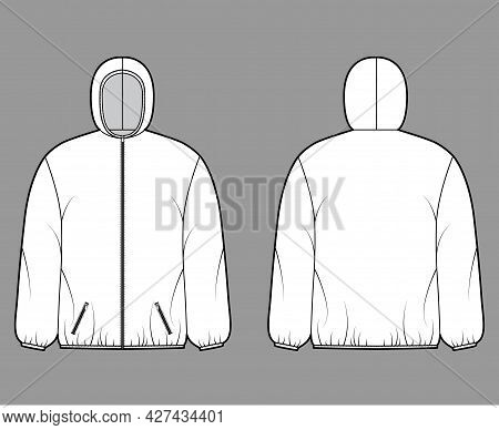 Puffer Coat Jacket Technical Fashion Illustration With Long Sleeves, Hoody Collar, Zip-up Closure, P