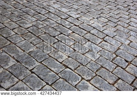 Paving Stone Texture. Old Grey Stone Pavement Background. Isometry. Stone Texture For The Design.