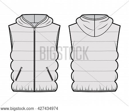 Hooded Down Vest Puffer Waistcoat Technical Fashion Illustration With Sleeveless, Loose Fit, Hip Len
