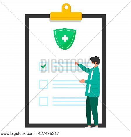 The Doctor Is Reviewing The Treatment Report, Check List On Health Information Of Diagnosis, Health