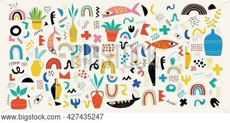 Hand Drawn Various Shapes And Doodle Objects. Set Of Abstract Contemporary Modern Trendy Vector Icon